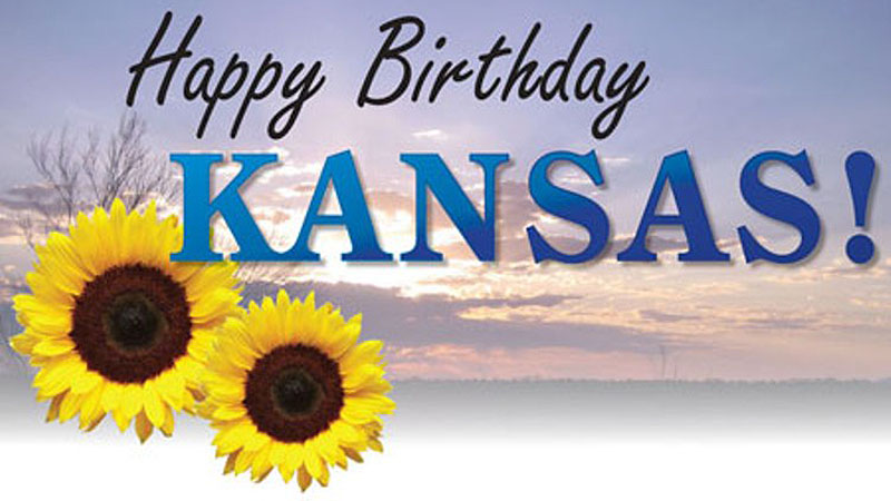 Happy birthday Kansas with two sunflowers