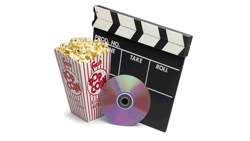 popcorn box, DVD, movie slate board