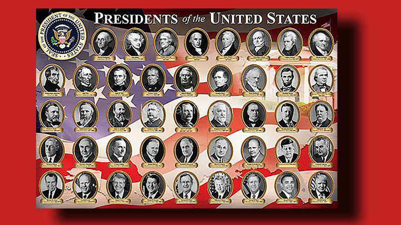 Headshots of all 45 US Presidents