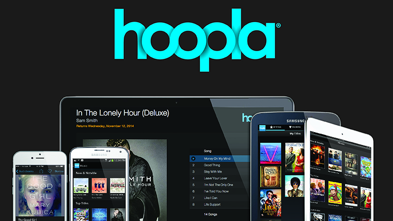 Hoopla Logo with phones, tablets and laptop screens