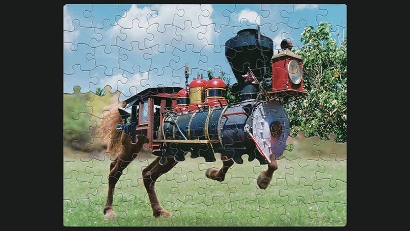 Steam train and horse puzzle mash-up