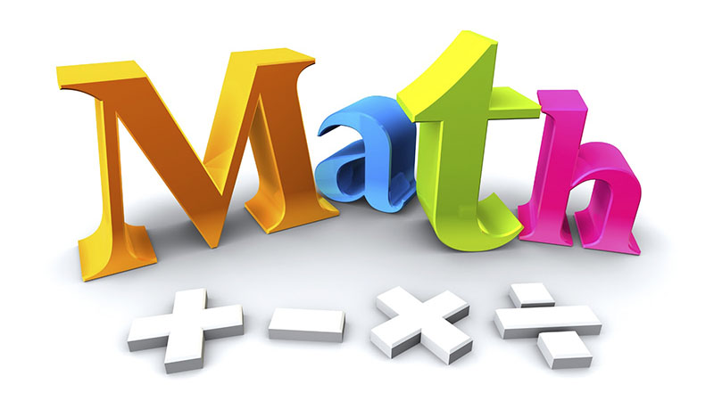 M A T H in colorful 3-D letters with add subtract multiply and divide symbols in white below