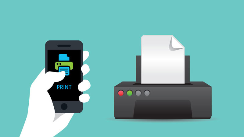 Hand holding a mobile phone with print button with remote printer in the background