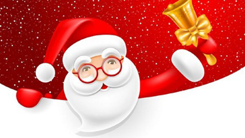 Santa with glasses ringing a gold handbell