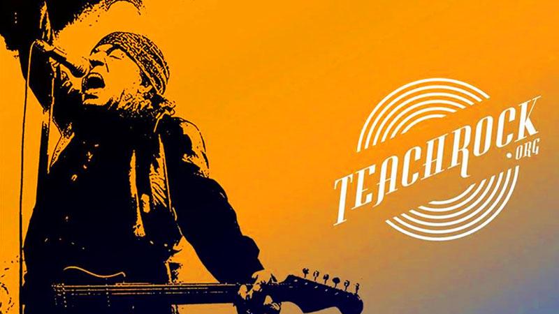 """""""Little Steven"""" Van Zandt silhouette and Teachrock logo"""