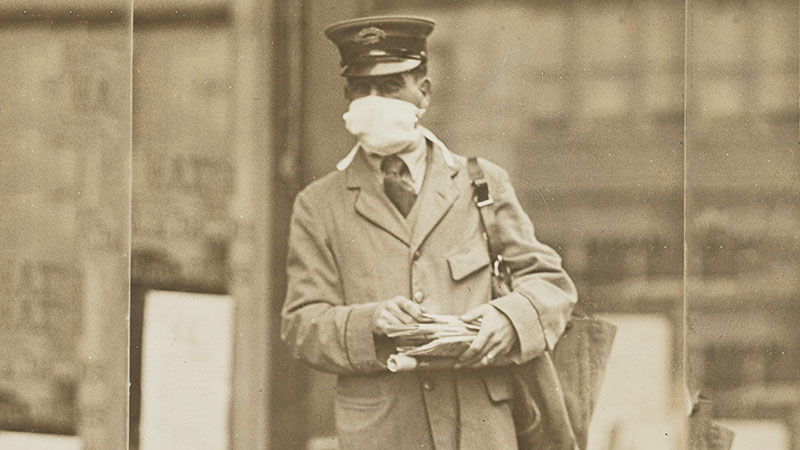 1918 Spanish Flu Letter Carrier with a Mask