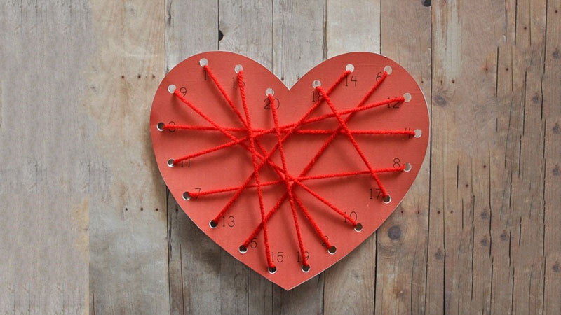 Special Valentine Craft - Math Heart Lacing